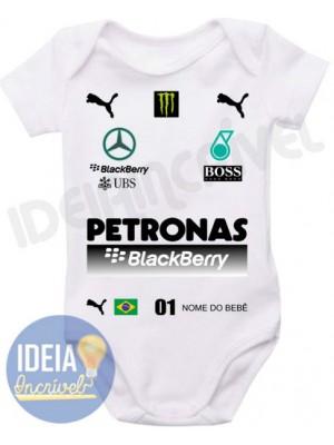 Body Infantil Corrida F1 Equipe Mercedes Petronas