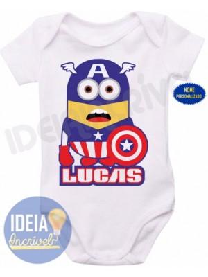 Body Infantil - Minions - Super-Heróis - Capitão América