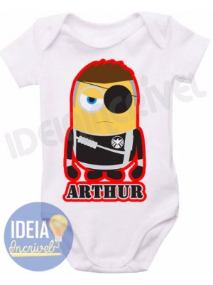 Body infantil - Minions - Super-Heróis - Nick Fury
