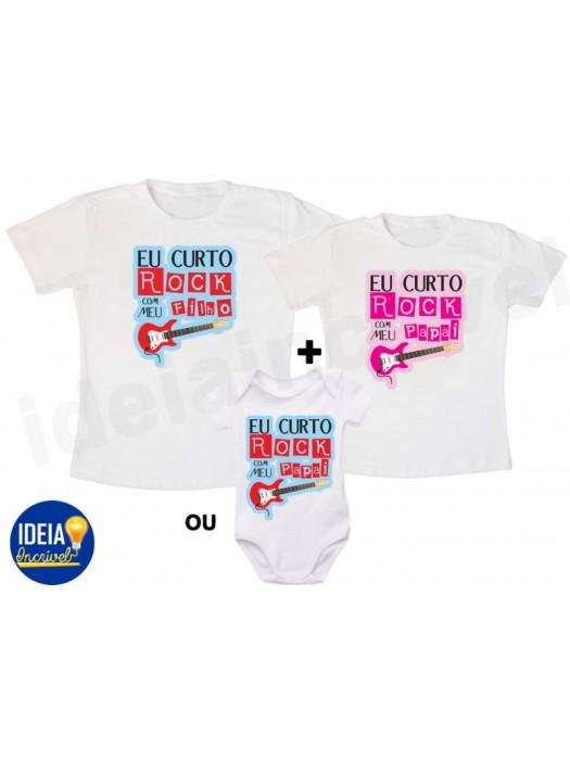 Kit Camiseta - Tal Pai, Tal Filho(a)... Curto Rock