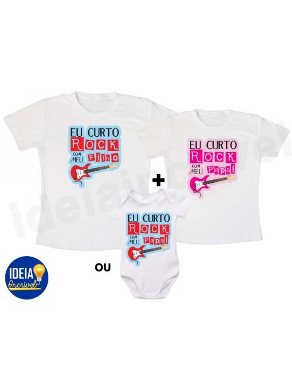 d5d3ca1ef0d0 Kit Camiseta - Tal Pai, Tal Filho(a)... Curto Rock
