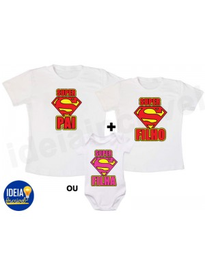 Kit Camiseta Super Pai e Super Filho(a)