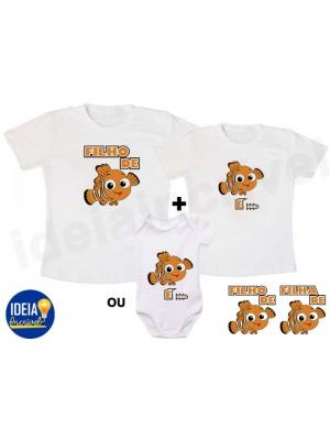 Kit Camiseta -  Filho(a) de Peixe, Peixinho é