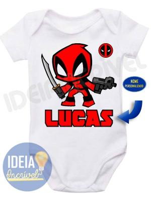 Body Infantil Deadpool com Nome Personalizado