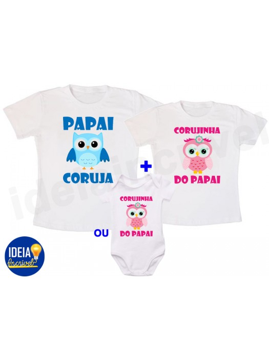 Kit Camiseta Papai Coruja