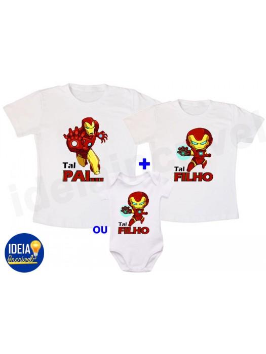 Kit Camiseta Tal Pai, Tal Filho - Homem de Ferro