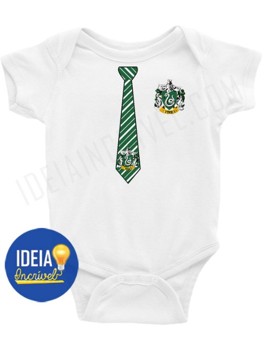 Body Infantil Uniforme Sonserina ( Harry Potter)