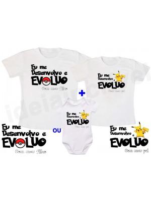 Kit Camiseta Tal pai, tal filho Pokemon