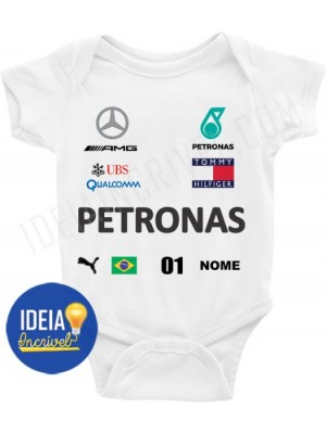 BODY INFANTIL CORRIDA F1 EQUIPE MERCEDES PETRONAS (2020)