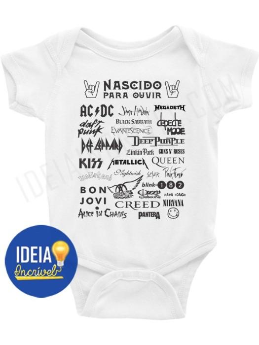 Body Bebê Infantil Nascido Para Ouvir Rock