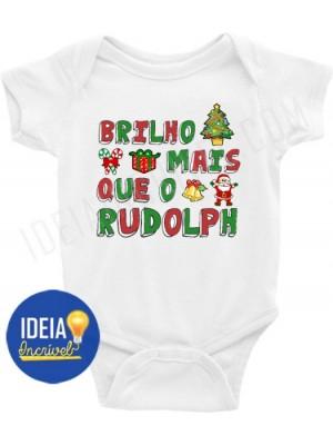Body Bebê Infantil Brilho Mais que o Rudolph