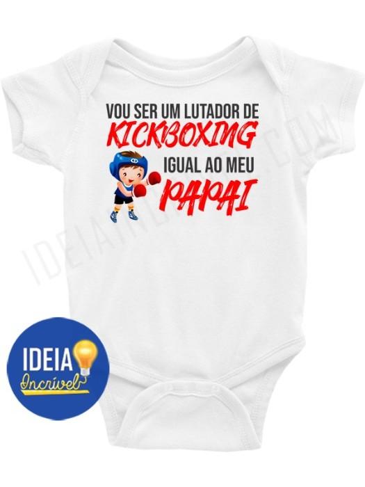 Body Infantil / Bebê - Vou ser lutador de Kickboxing igual ao meu papai
