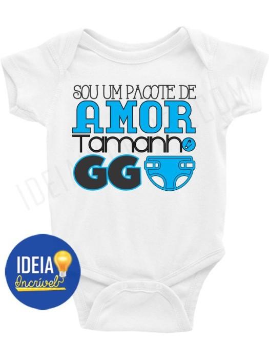 Body Bebê / Infantil - Sou Um Pacote de Amor Tamanho GG