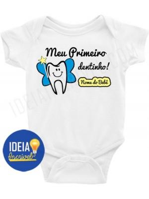 Body Infantil / Bebê Personalizado - Meu Primeiro Dentinho - Menino