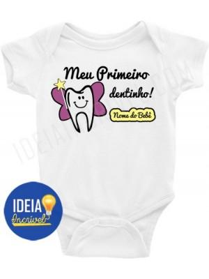 Body Infantil / Bebê Personalizado - Meu Primeiro Dentinho - Menina