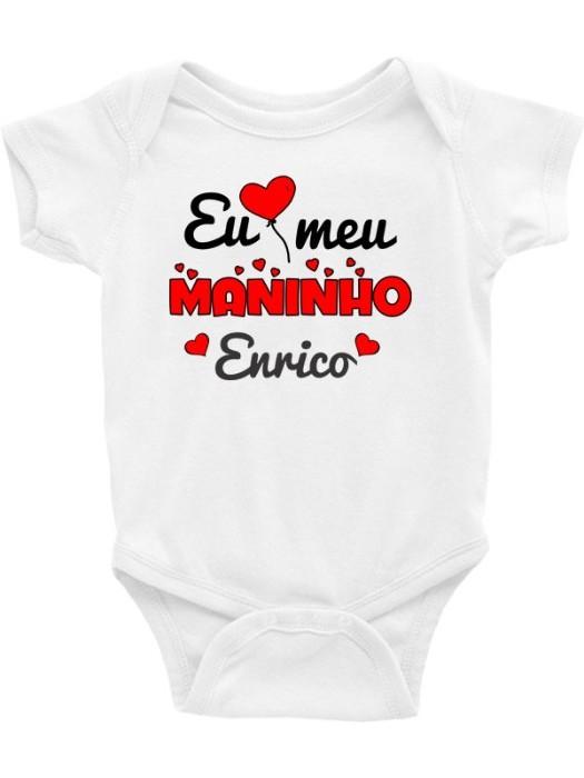 Body Infantil / Bebê - Eu Amo Meu Maninho (Nome Personalizado)